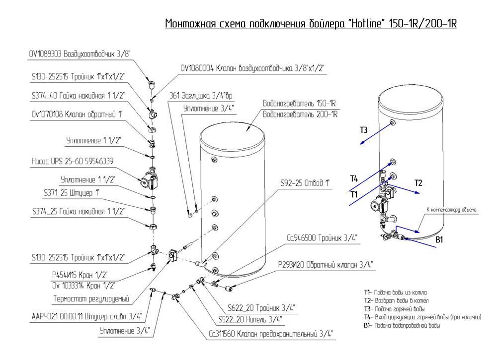 Схема обвязки бойлера косвенного